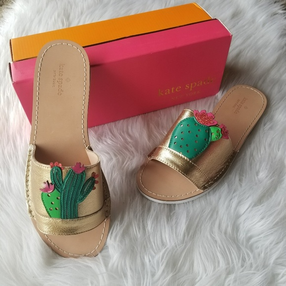 6569adc165ca kate spade Iguana Golden Cactus sandals